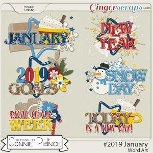 #2019 January - Word Art Pack by Connie Prince