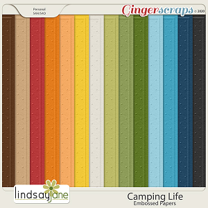 Camping Life Embossed Papers by Lindsay Jane