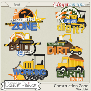 Construction Zone - Word Art Pack by Connie Prince