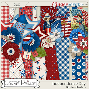Independence Day - Border Clusters by Connie Prince