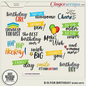 B is For Birthday Word Arts by JB Studio