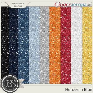 Heroes In Blue Glitter Papers