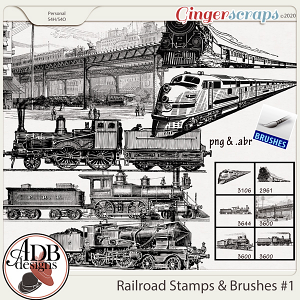 Heritage Resource - Vintage Railroad Stamps Vol 1 by ADB Designs