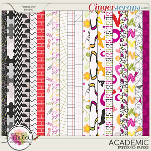 Academic - Patterned Papers - by Neia Scraps