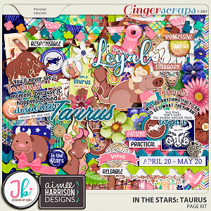 In The Stars: Taurus Page Kit by JB Studio and Aimee Designs