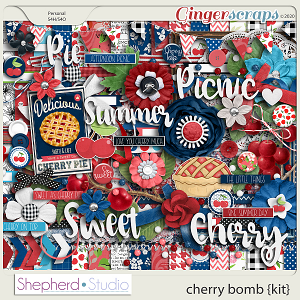 Cherry Bomb Digital Scrapbooking Kit by Shepherd Studio