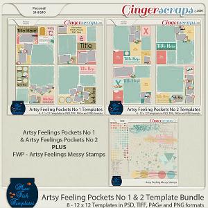 Artsy Feelings Pockets No 1 and No 2 Templates Bundle by Miss Fish