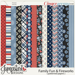 Family Fun & Fireworks {Patterned Papers} by Jumpstart Designs