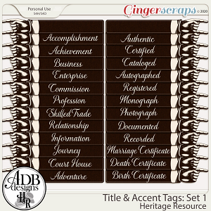 Heritage Resources - Title and Accent Tags Set 1 by ADB Designs