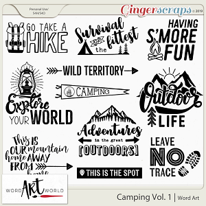 Camping Vol. 1 Word Art