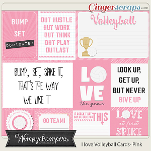 I Love Volleyball Cards- Light Pink