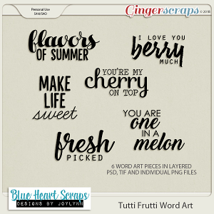 Tutti Frutti Word Art Pack