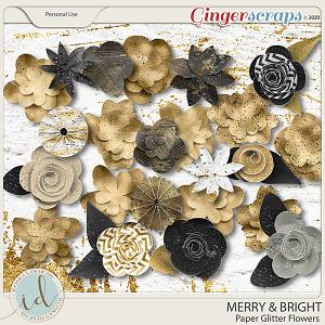 Merry & Bright Paper Glitter Flowers by Ilonka's Designs