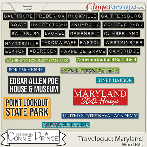 Travelogue Maryland - Word Bits by Connie Prince
