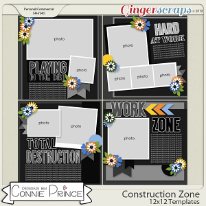 Construction Zone - 12x12 Templates (CU Ok) by Connie Prince