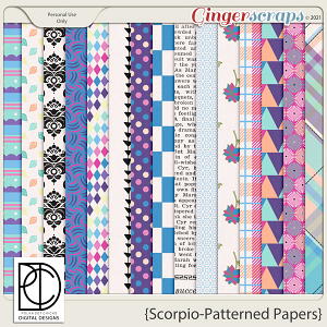 Scorpio: Patterned Papers