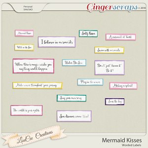 Mermaid Kisses Worded Labels