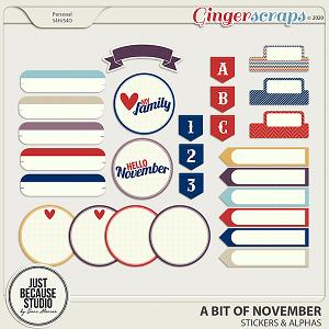 A Bit Of November Stickers & Alphas by JB Studio