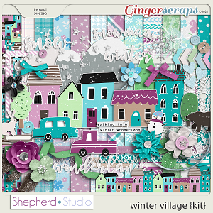 Winter Village Digital Scrapbooking Kit by Shepherd Studio
