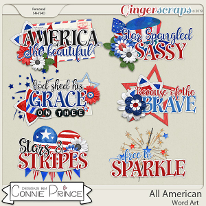 All American - Word Art Pack by Connie Prince