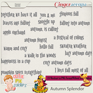 Autumn Splendor Word arts