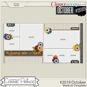 #2019 October - Week 42 Template Pack (CU Ok) by Connie Prince