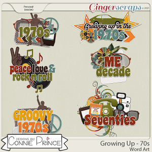 Growing Up 70s - Word Art Pack by Connie Prince