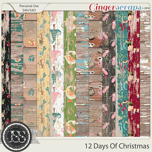 12 Days Of Christmas Worn Wood Papers