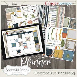 Barefoot Blue Jean Night Planner Pieces- Scraps N Pieces