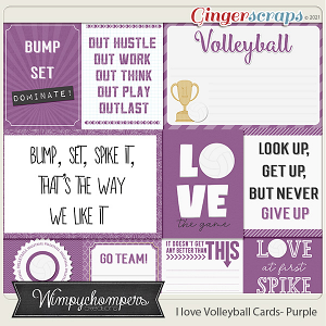 I Love Volleyball Cards- Purple