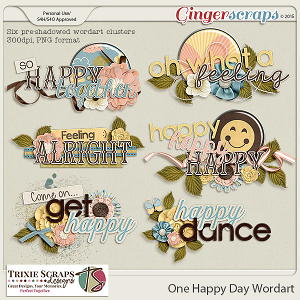 One Happy Day Wordart by Trixie Scraps Designs