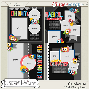 Clubhouse - 12x12 Templates (CU Ok) by Connie Prince
