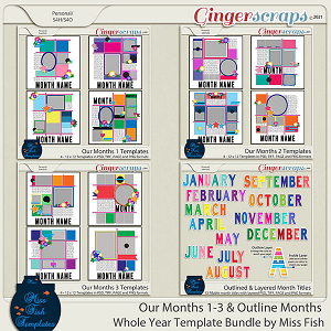 Our Months and Outline Months Whole Year Template Bundle by Miss Fish