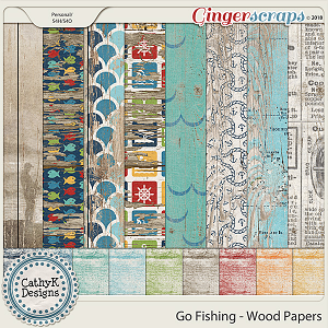 Go Fishing - Wood Papers by CathyK Designs