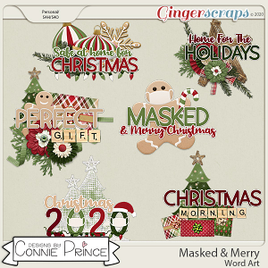 Masked & Merry - Word Art Pack by Connie Prince