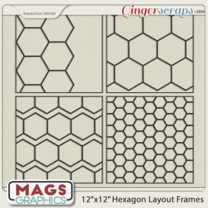 12x12 Hexagon Layout Frame Templates by MagsGraphics