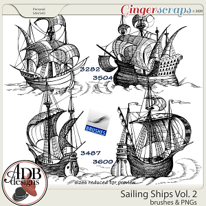 Heritage Resource - Sailing Ships Stamps & Brushes Set 02 by ADB Designs