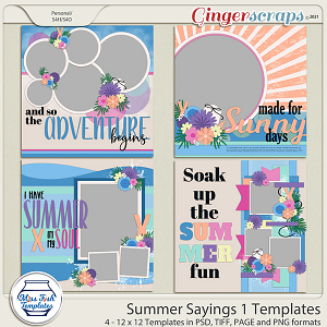 Summer Sayings 1 Templates by Miss Fish