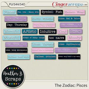 The Zodiac: Pisces WORDBITS by Heather Z Scraps