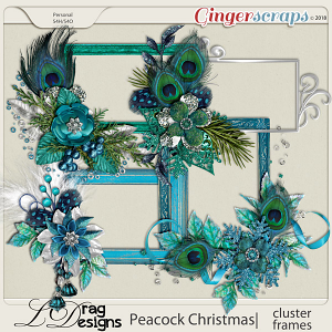 Peacock Christmas: Cluster Frames by LDragDesigns