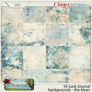 16 Junk Journal Papers - the Blues