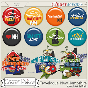 Travelogue New Hampshire - Word Art & Flair Pack by Connie Prince