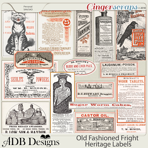 Old Fashioned Fright Heritage Labels by ADB Designs