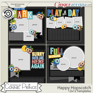 Happy Hopscotch - 12x12 Templates (CU Ok) by Connie Prince