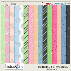 Birthday Celebration Glitter Papers by Lindsay Jane
