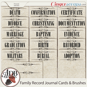 Heritage Resource - Family Record: Journal Cards & Brushes by ADB Designs