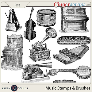 Music Stamps and Brushes by Karen Schulz