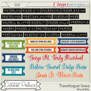 Travelogue Iowa - Word Bits by Connie Prince