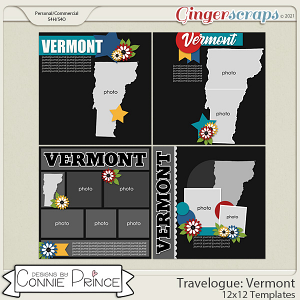 Travelogue Vermont - 12x12 Temps (CU Ok) by Connie Prince