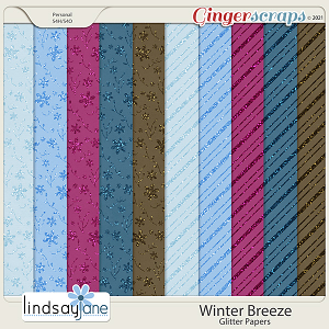 Winter Breeze Glitter Papers by Lindsay Jane